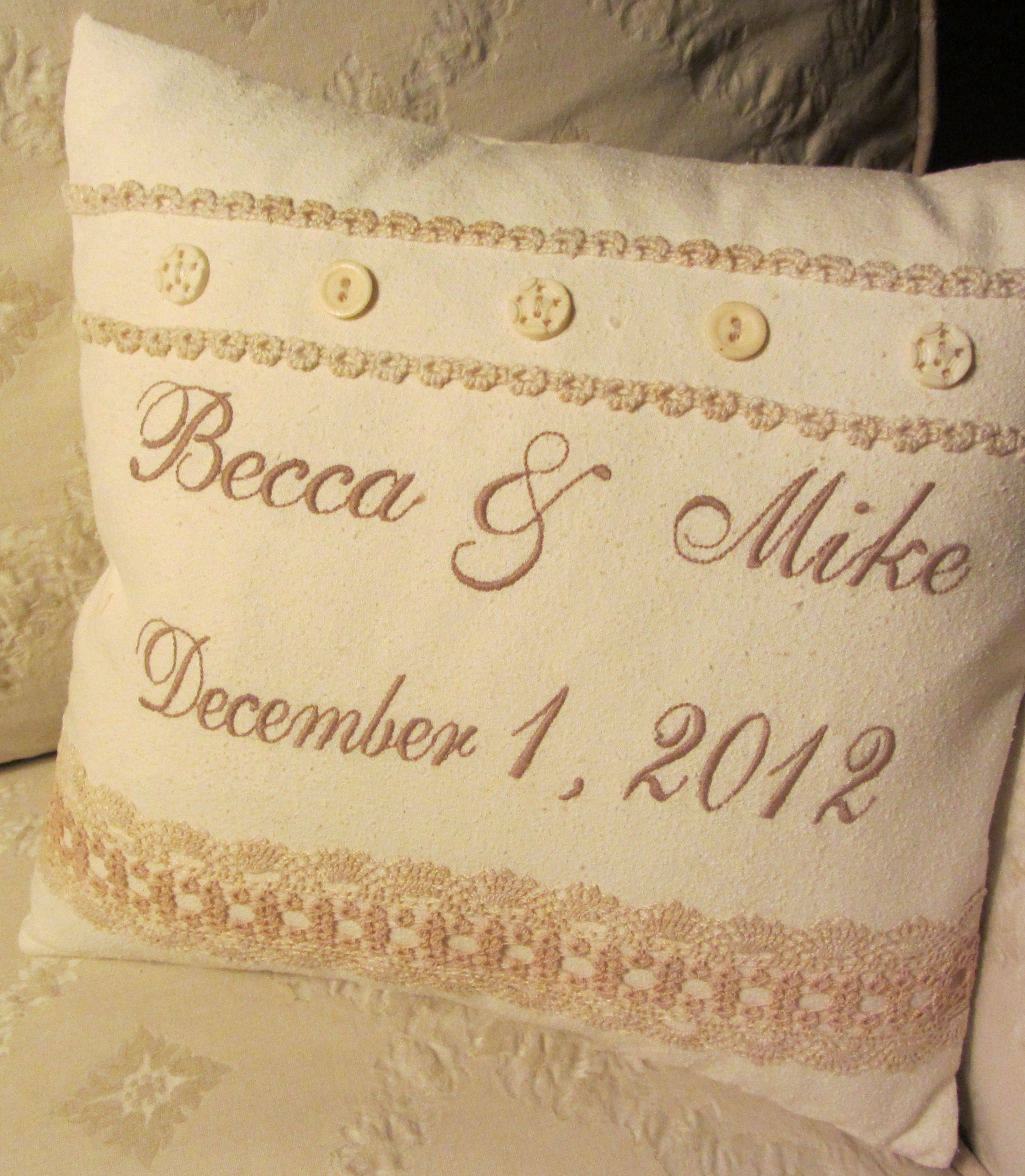 Machine Embroidered Wedding Pillow With Vintage Tatting And Buttons
