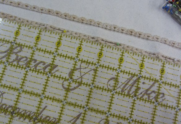 Another modern tool makes sure my top rows of lace are straight and evenly positioned.