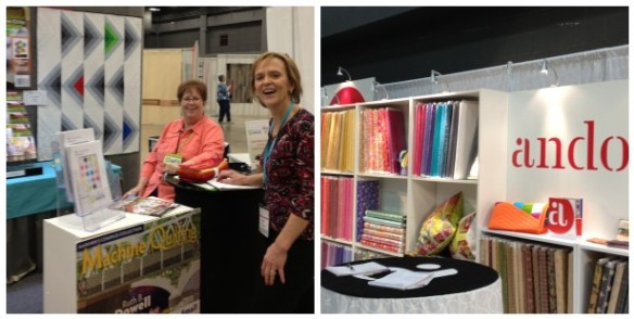 Andover Fabrics booth and Vickie Anderson and Carol Zentgraf at the Modern Quilting Unlimited booth. MQU was one of the sponsors