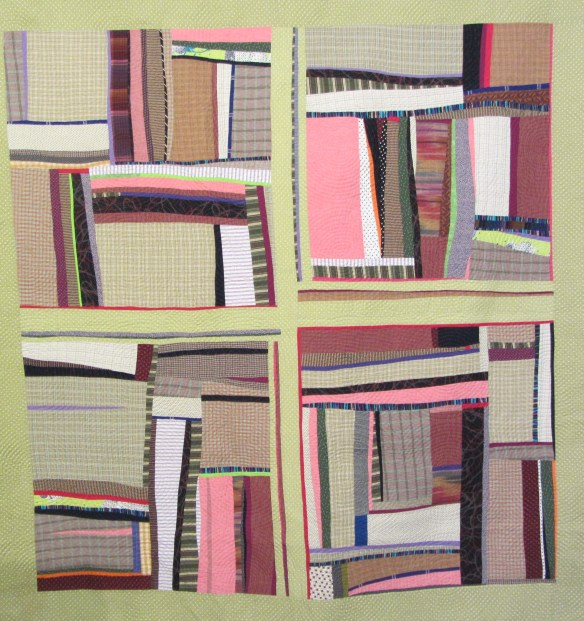 "Pink Candle, Organic Log Cabin #5 by Jennifer Emry.  The color palette for this quilt was inspired by the Henri Rousseau painting, ""The Pink Candle"""