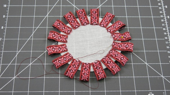 Row 1 - Folded Ribbon Loops Stitched to a Buckram Circle