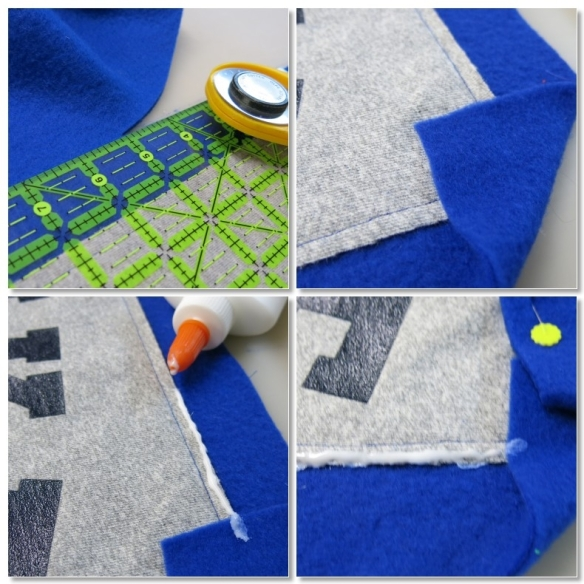 """Trimming fleece and folding the edge to the front of the """"quilt"""" to create the """"binding""""."""
