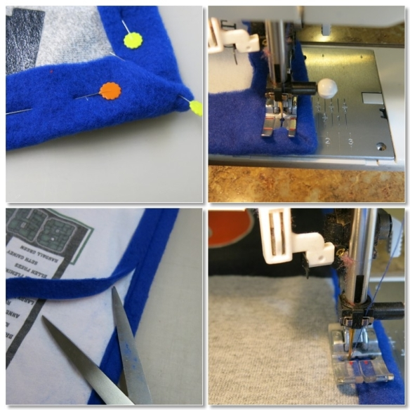 """Pin mitered edges at corners. Machine stitch 1/2"""" from the folded edge of the fleece. Trim excess fleece close to stitching. Zig-zag stitch over the raw edge of the fleece to neatly finish the binding."""