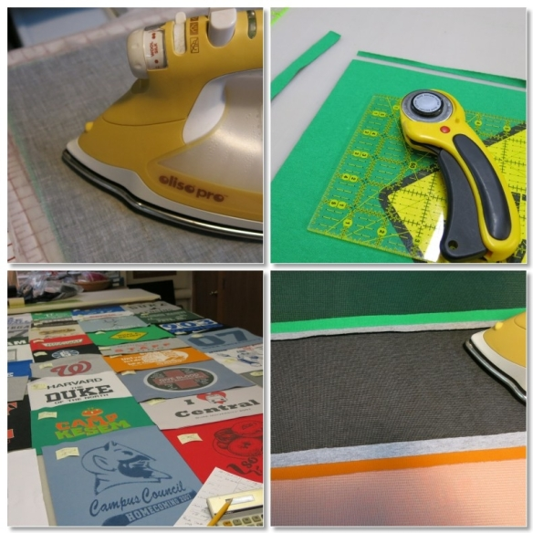 Iron on fusible knit interfacing. Trim each rectangle to the exact size needed. Double check to make sure the 4 columns will end up the same length. Sew the rectangles in each column together and press seams open.